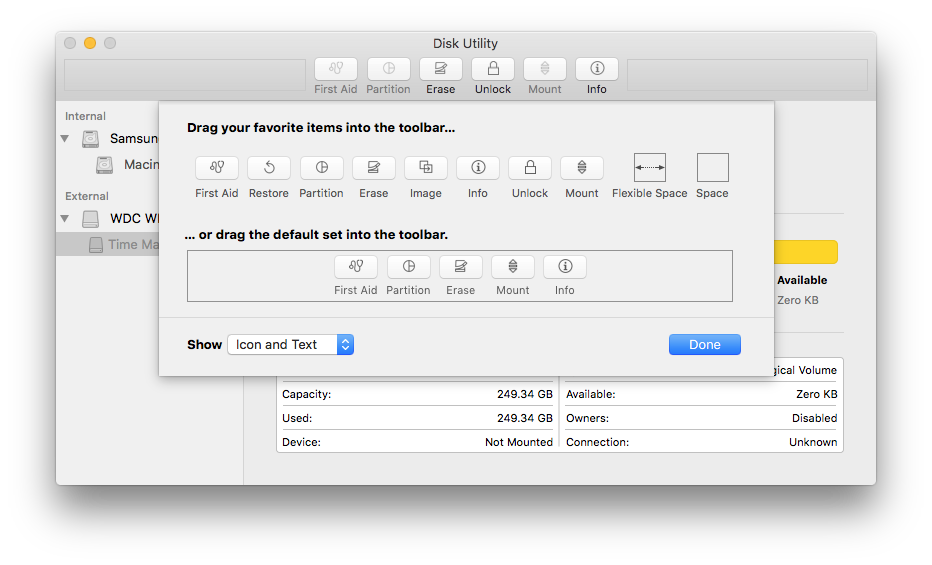 Customizing the toolbar in Disk Utility.app